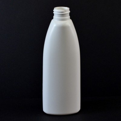 6 oz 24/410 Teardrop Oval White HDPE Bottle