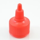 28/410 Red Dispensing Cap Twist Open Ribbed PP