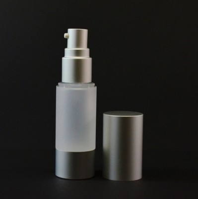 15 ml Airless Frosted Bottle with Matte Silver Pump and Hood