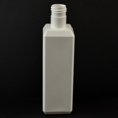 8 oz 24/415 White Beveled Square HDPE Bottle