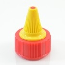 33/400 Red-Yellow Dispensing Cap Twist Open Ribbed PP