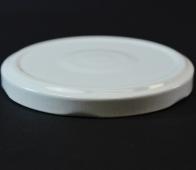 82MM Regular Twist Open / Step and Button White Metal Cap / Plastisol Liner