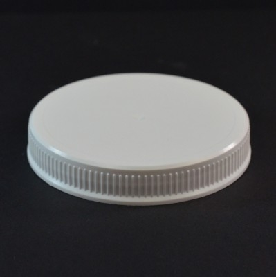 89/400 White Fine Ribbed Straight PP Cap / Unlined