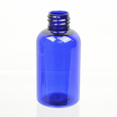2 oz 20/410 Squat Boston Round Cobalt PET Bottle