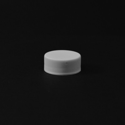 24/400 White Ribbed Straight PP Cap / PS Liner - 6500/Case