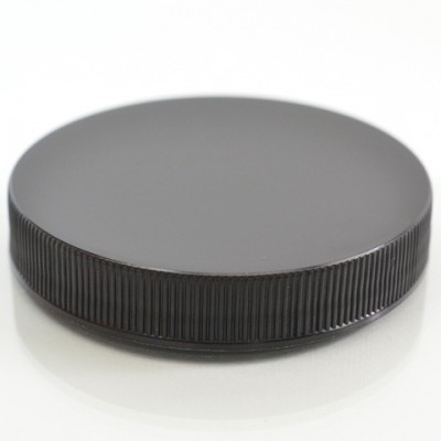 63/400 Black Ribbed Straight PP Cap / Unlined - 900/Case