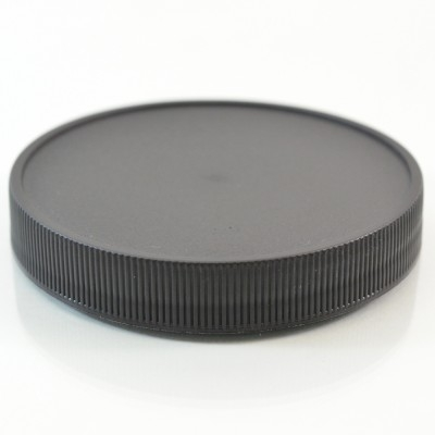83/400 Black Ribbed Straight PP Cap / PS Liner - 500/Case