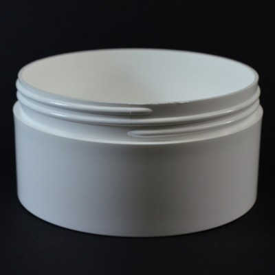 16 OZ 120/400 Thick Wall Straight Base White PP Jar - 80/Case