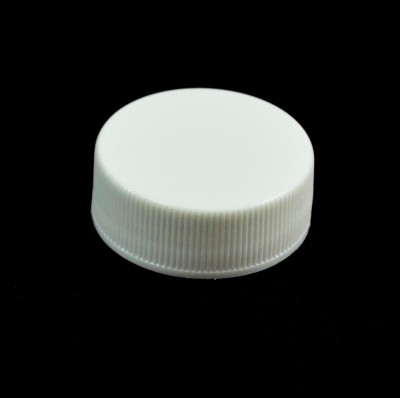 28/400 White Ribbed Straight PP Cap / Unlined - 5000/Case