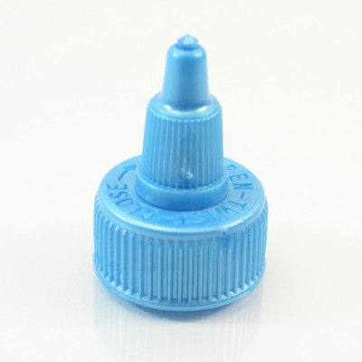 24/410 Blue Ribbed Dispensing Cap Twist Open PP