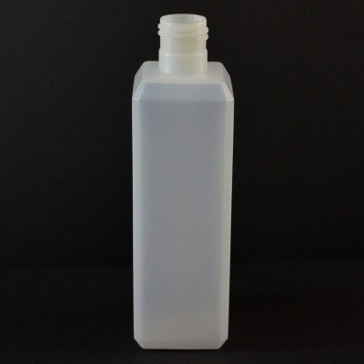 8 oz 24/415 Natural Beveled Square HDPE Bottle
