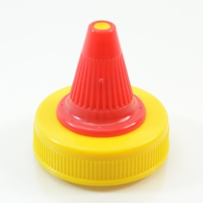 38/400 Red-Yellow Dispensing Cap Twist Open Ribbed PP