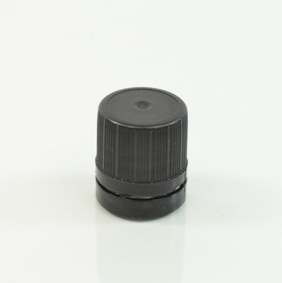 18-DIN Black Tamper-Evident Vertical Dropper Cap