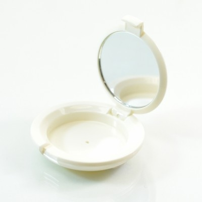 Compact Small Round ABS White with Mirror Pinned-Hinge 1.850