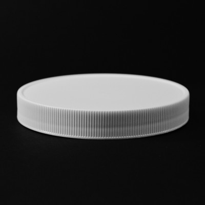 110/400 White Ribbed Straight PP Cap / Unlined - 216/Case