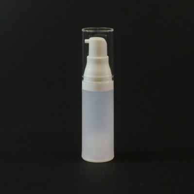 15 ml Airless Frosted Bottle White with Clear Hood