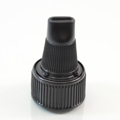 24/410 Black Ribbed Dispensing Cap Twist Open PP