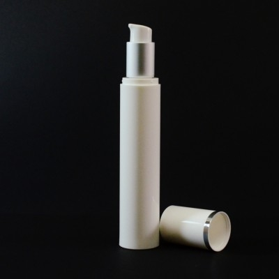 50 ml Airless White Bottle with Matte Silver Collar and White Hood
