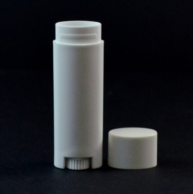 .15 oz White Elliptical Lip Balm Container, 2.66